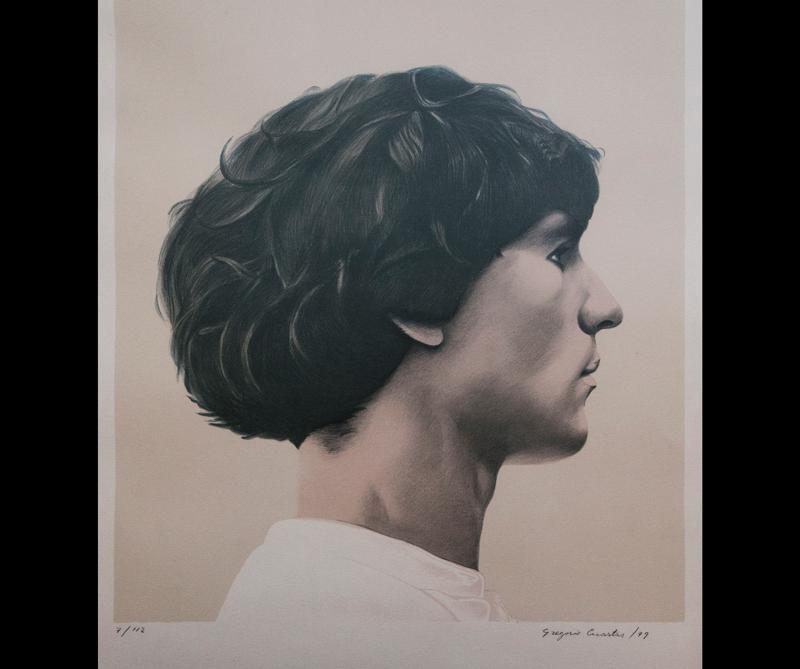 Hombre de perfil, serigrafía, Gregorio Cuartas
