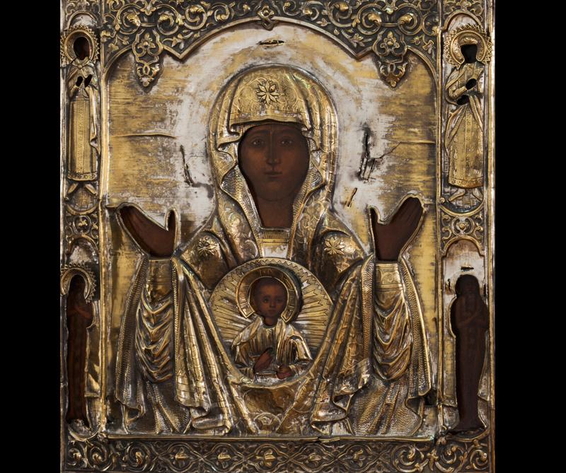 Virgen del Signo, madera al temple, Escuela de Nougorod, siglo XIX
