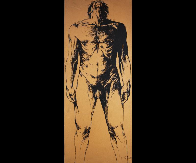 Hombre desnudo frontal, técnica mixta, Luis Caballero