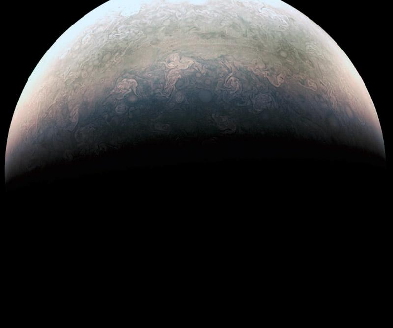 Foto de Júpiter tomada desde la sonda Juno. Foto: NASA