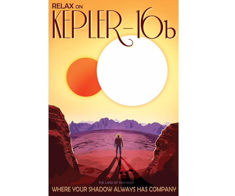 """Al igual que el planeta """"Tatooine"""" de Luke Skywalker en Star Wars, Kepler-16b orbita un par de estrellas. Representado aquí como un planeta terrestre, Kepler-16b también podría ser un gigante de gas como Saturno. Las perspectivas para la vida en este mundo inusual no son buenas, ya que tiene una temperatura similar a la del hielo seco."""
