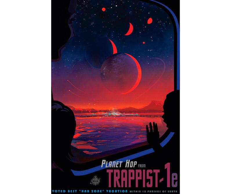 A unos 40 años-luz de la Tierra, un planeta llamado TRAPPIST-1e ofrece una vista que detiene el corazón: objetos brillantes en un cielo rojo, que se asoman como versiones más grandes y más pequeñas de nuestra propia luna. Pero éstas no son lunas. Son planetas del tamaño de la Tierra en un espectacular sistema planetario fuera de los nuestros.