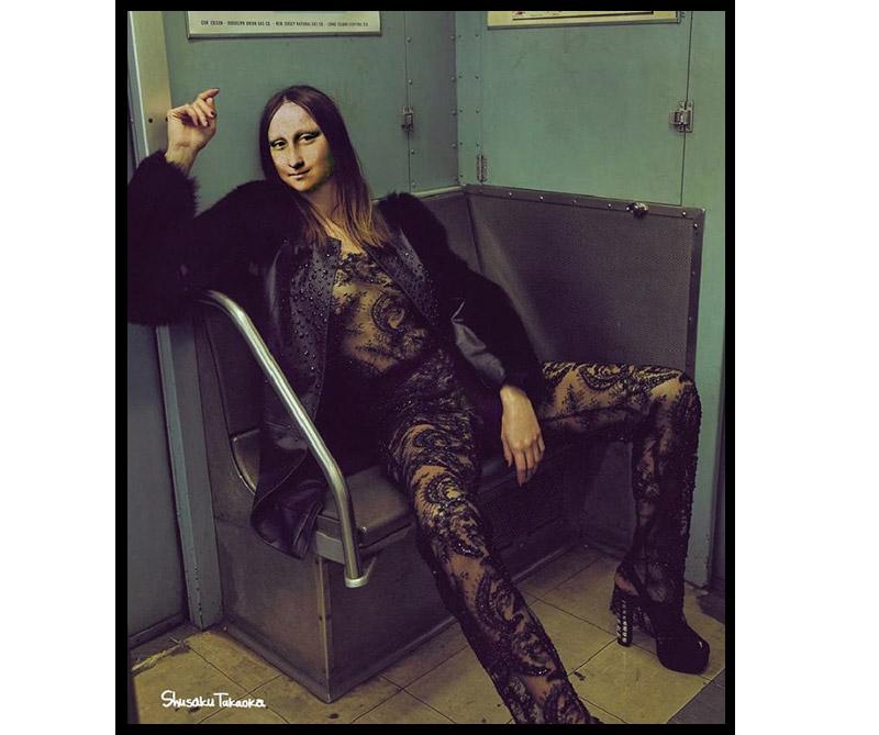 Mona Lisa posando en el metro de Nueva York.