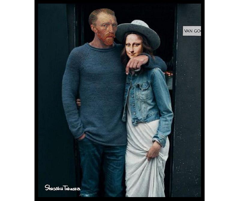 Van Gogh y la Mona Lisa estrenando ropa.