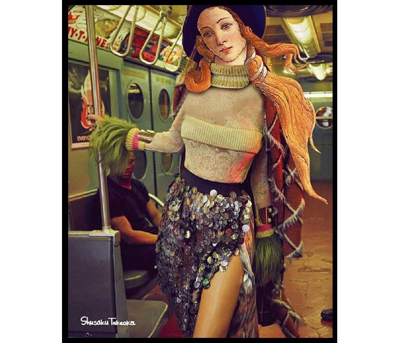 La Venus del Milo de pie en el metro de Nueva York.