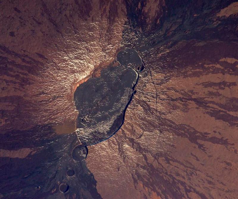 Volcán Mauna Loa en Háwai (Estados Unidos). Foto: Estación Espacial Internacional.