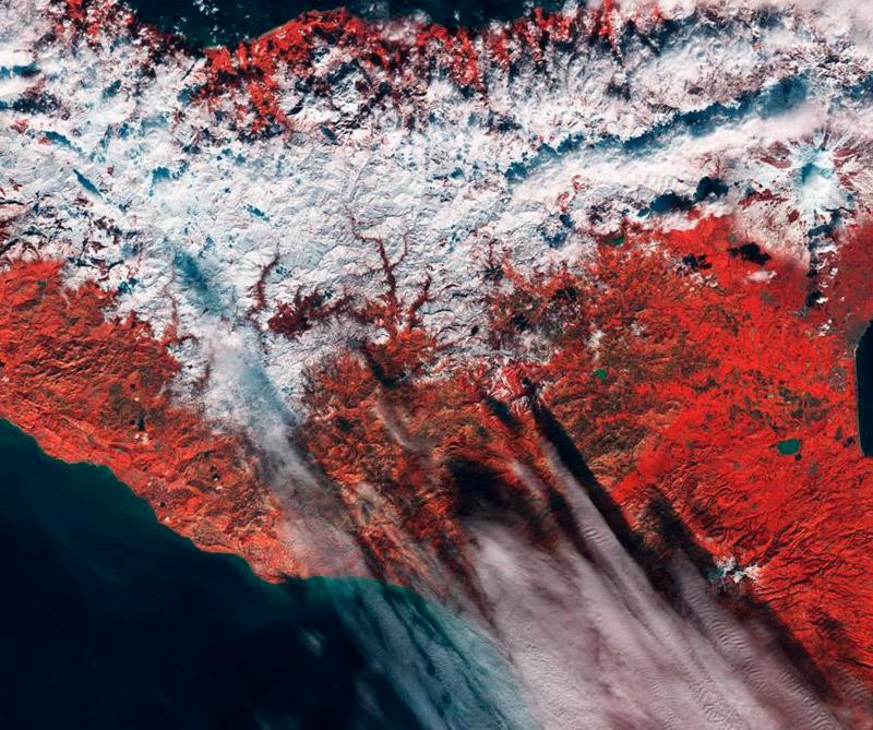 Nieve en Sicilia (Italia) Foto: Satélite Sentinel -2A.