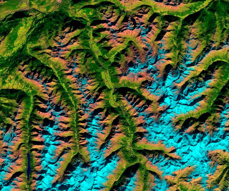 Alpes de Ötztal (Cordillera en Italia). Foto: Satélite Sentinel-2A.