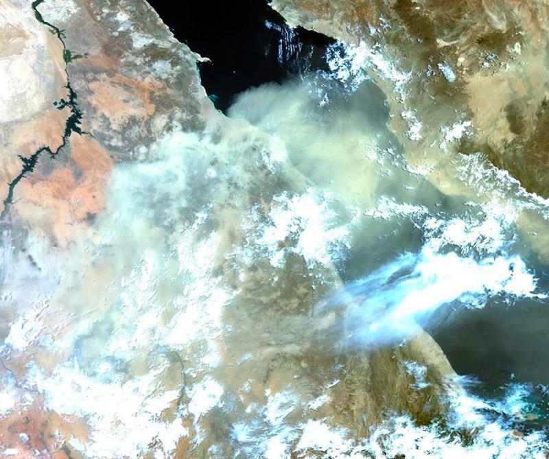 Tormenta de arena en el mar Rojo. Foto: Satélite Sentinel-3A.