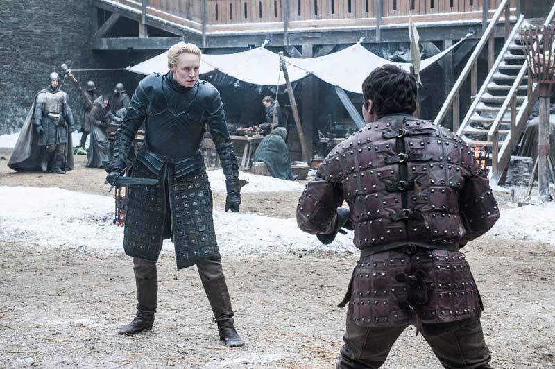<div>Gwendoline Christie (Brienne de Tarth) y Daniel Portman (Podrick Payne)</div>