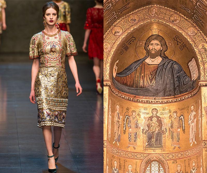Colección Sicilia de Dolce & Gabbana 2013 / Pinturas de la catedral de Monreale (Italia). Foto: @dolcegabanna y Creative Commons.