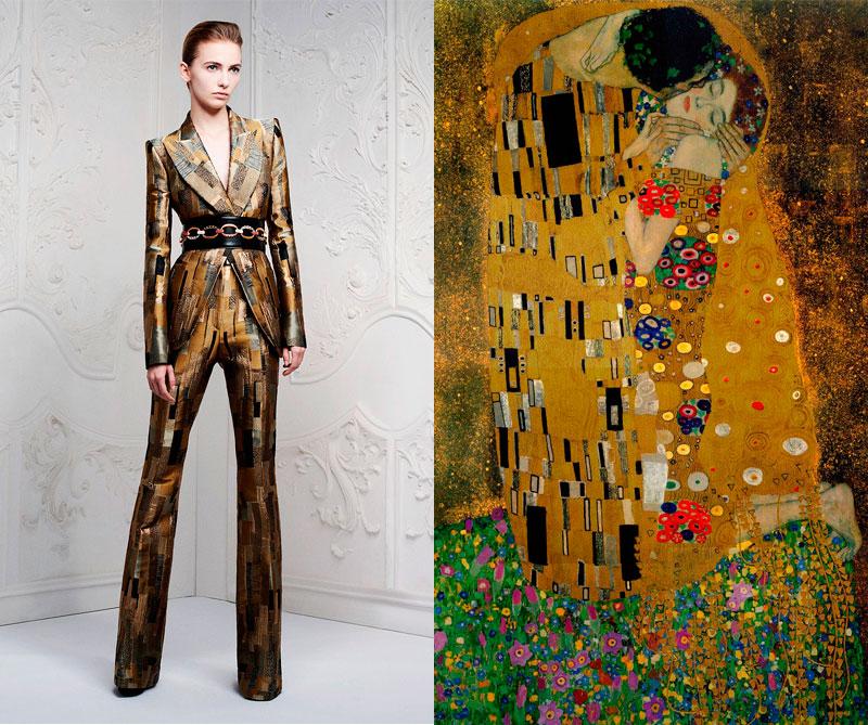 """Colección primavera """"Golden Lady"""" 2013 de Alexander McQueen. Foto: @alexandermcqueen / Pintura: El Beso de Gustav Klimt 1908."""