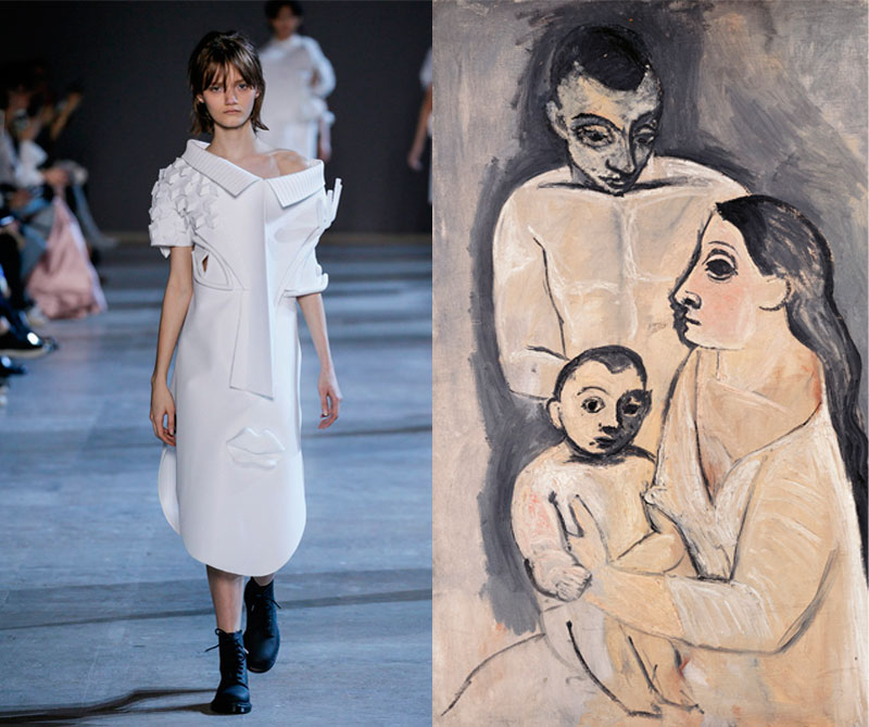 """Colección primavera """"Wearable Art"""" de 2016. Foto: @viktor_and_rolf / Pintura: Hombre, mujer y niño 1906 de Pablo Picasso."""