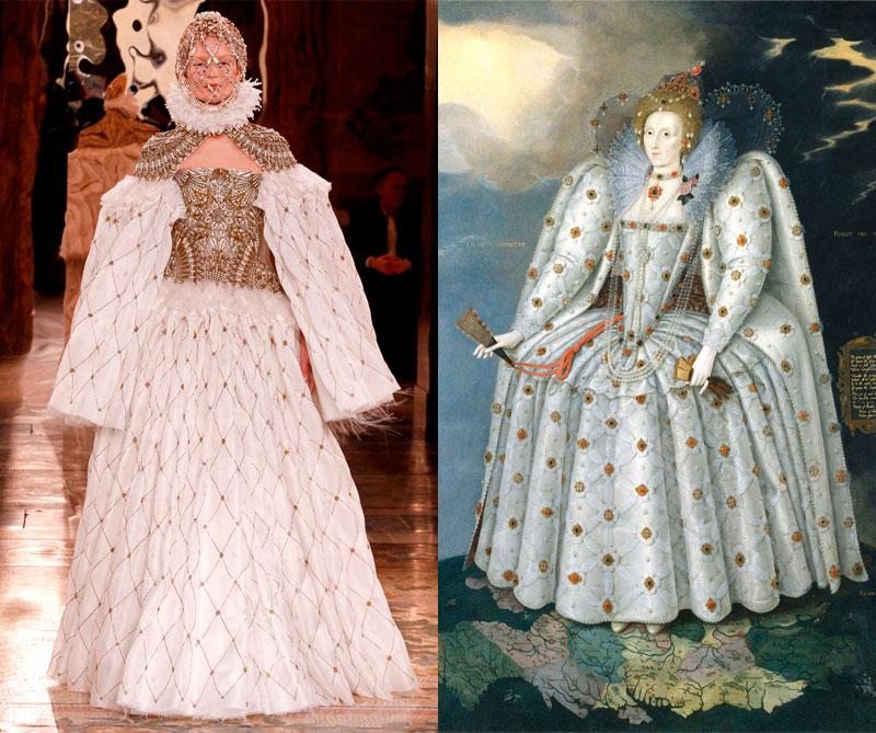 Colección otoño 'High Church' de 2013 está inspirada en la reina Isabel I. Foto: @alexandermcqueen. Pintura: Marcus Gheeraerts (1559)