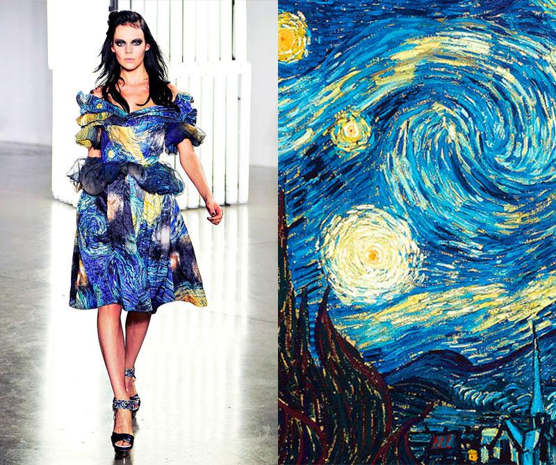 Colección primavera 'Van Gogh' de 2012. Foto: @rodarte / Pintura: La noche estrellada 1889.