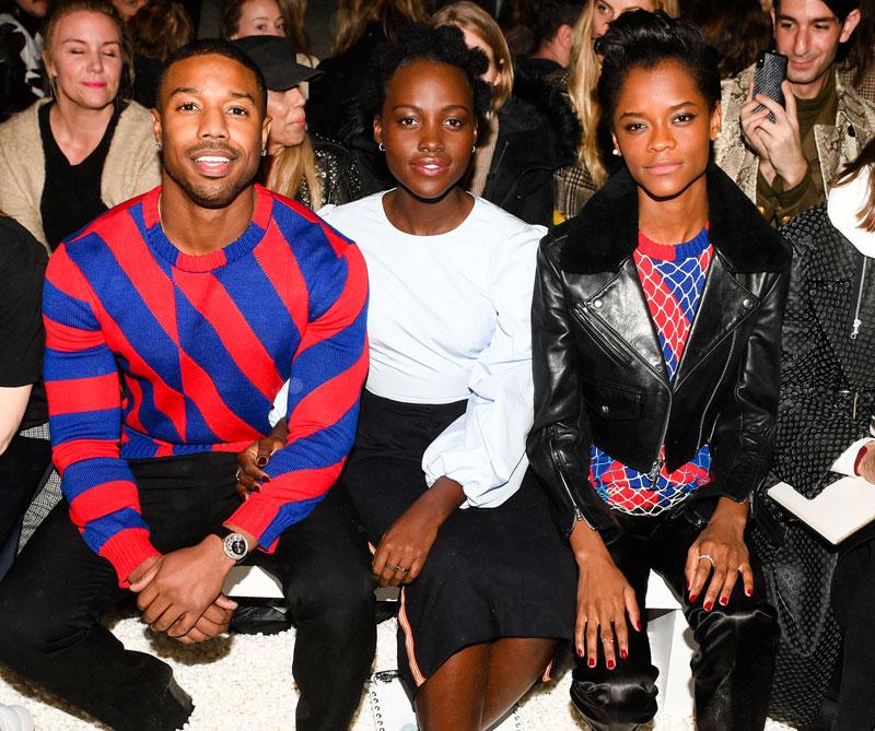 <div>Michael B. Jordan, Lupita Nyong' o y Letitia Wright, protagonistas de la reciente película Black Panther (2018).</div>