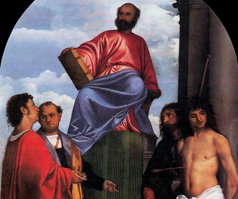 San Marcos en el trono y los santos Cosme y Damián, Roque y Sebastián, Basílica de Santa María de la Salud, Venecia, 1508 - 1510, Archivo Diners, CC BY 0.0.