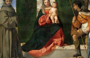 La virgen y el niño, San Antonio de Padova y San Roque, Museo del Padro, Madrid, 1508, CC BY 0.0.