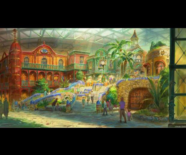 <div>Área Giant Ghibli. La parte central del parque con tiendas, exhibiciones y juegos para niños.</div>
